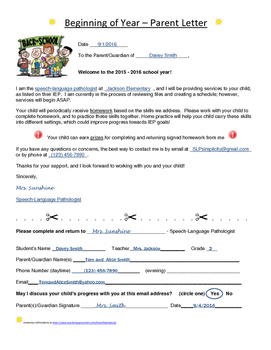 Beginning of Year- Parent Letter