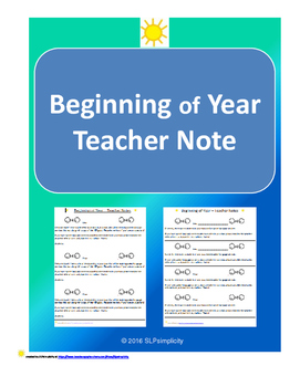 Beginning of Year- Teacher Note