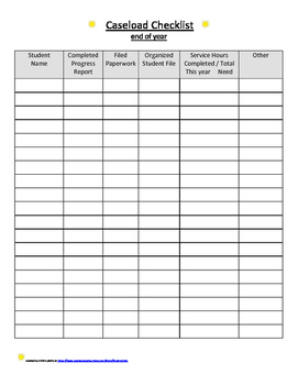 End of Year- Caseload Checklist