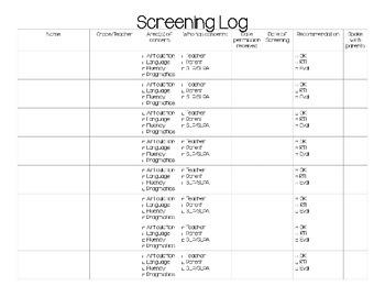 SLP Speech Therapy Screening Log