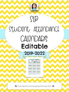 Attendance Calendar 2022.Slp Student Attendance Calendar 2020 Editable Version Tpt