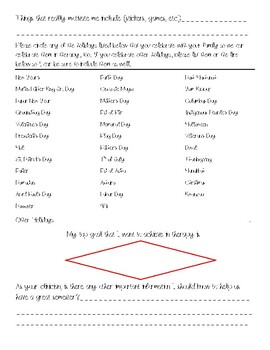 SLP Student Clinician All About Me Form-Client Edition