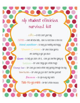 SLP Student Clinician Survival Kit