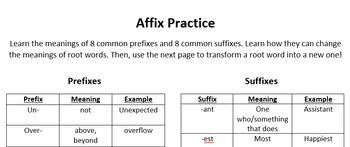 SLP/Syntax Activity: Affix Practice