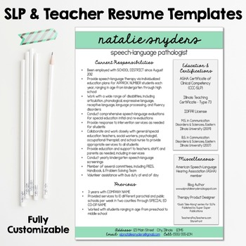 Slp Cover Letter | Slp Teacher Resume And Cover Letter Templates Fully Editable