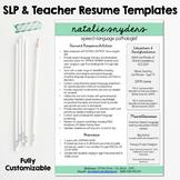 SLP & Teacher Resume and Cover Letter Templates - Fully Editable