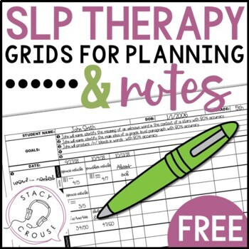 SLP Therapy Grids for Planning and Notes