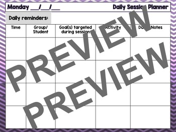SLP Weekly Session Planner