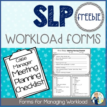 SLP Workload Forms FREEBIE Case Manager Meeting Planning Checklist EDITABLE