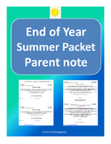 End of Year- Summer Packet parent note