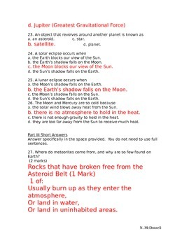 SLesson 08 Part 2 Quiz on Solar System Answers