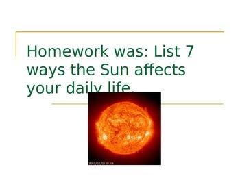 SLesson 10 Homework (the sun)