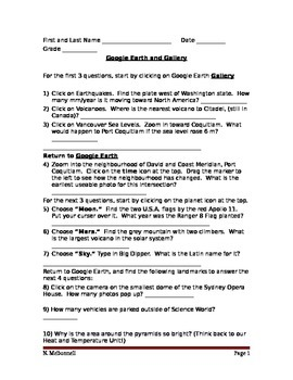 SLesson 12 Google Earth Worksheet