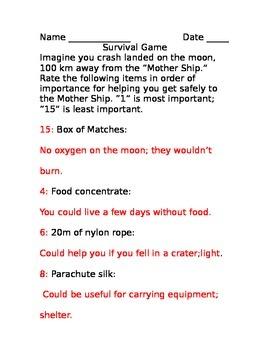 SLesson 14 (b) Survival Game NASA Answers