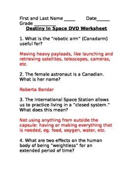 SLesson 15 Destiny in Space DVD Answers