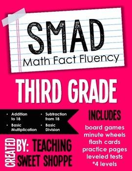 Smad Math Fact Fluency Program Third Grade By Teaching Sweet Shoppe
