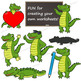 SMALL Alligator Clip Art Set / Crocodile Clipart