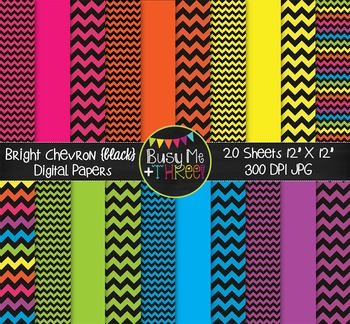 SMALL Bright Chevron {BLACK} Digital Papers {Commercial Use Digital Graphics}