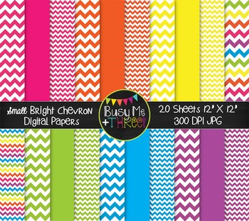 SMALL Bright Chevron Digital Papers {Commercial Use Digital Graphics}