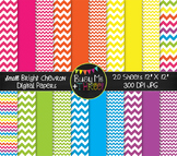 SMALL Bright Chevron Digital Papers {Commercial Use Digita