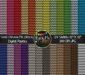 SMALL Chevron Mix Black, Digital Papers {Commercial Use Digital Graphics}