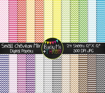 SMALL Chevron Mix Digital Papers {Commercial Use Digital Graphics}