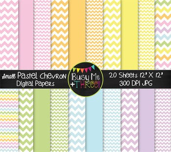 SMALL Pastel Chevron Digital Papers {Commercial Use Digita