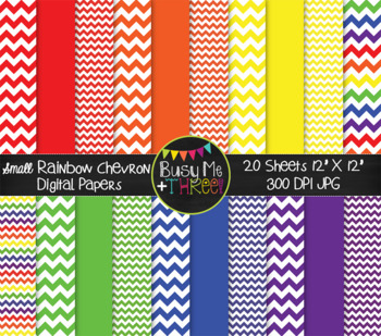 SMALL Rainbow Chevron Digital Papers {Commercial Use Digital Graphics}