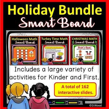 SMART BOARD MATH HOLIDAY BUNDLE:  Halloween, Thanksgiving & Christmas