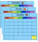 SMART Board Calendar Math for Kindergarten Fall Bundle (Sep., Oct., Nov.)