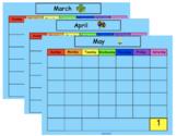 SMART Board Calendar Math for Kindergarten Spring Bundle (March, April, May)