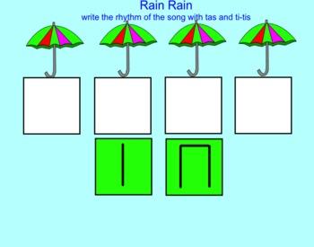 SMART Board Music: Rain Rain Song with rhythm practice