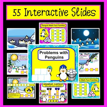 SMARTboard Math Penguin Addition, Subtraction, & Winter Word Problems