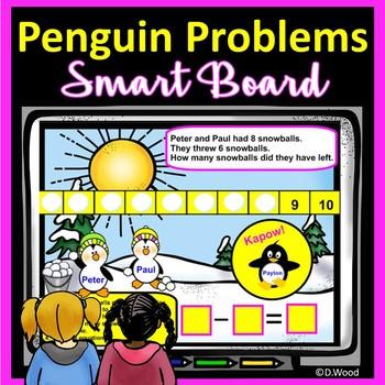 SMART Board Math Penguin Addition, Subtraction, & Winter W