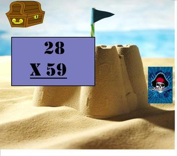 SMART Board: Pirates' Plunder Game: Two Digit Multiplication: Math: Smartboard