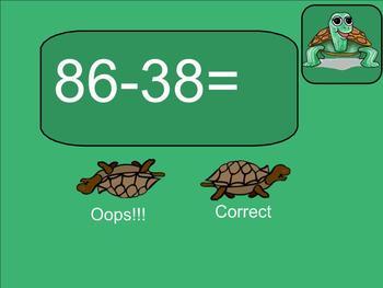 SMART Board: Race Turtles: Basic Game: Math: 2 digit Subtraction: Smartboard