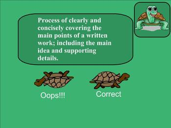 SMART Board: Race of the Turtles: English: Vocabulary Consumer Terms: Smartboard