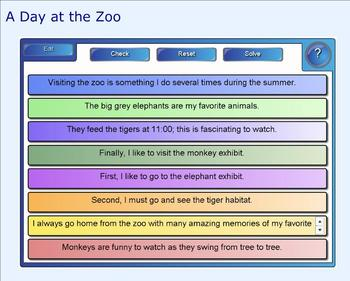 SMART Board: Sequencing Paragraph: A Day at the Zoo: Smartboard Writing