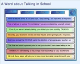 SMART Board: Sequencing Paragraph: A Word about Talking in Class