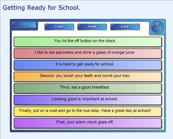 SMART Board: Sequencing Paragraph: Getting Ready for School: Smartboard Writing