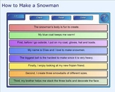 SMART Board: Sequencing Paragraph: How to Make a Snowman: