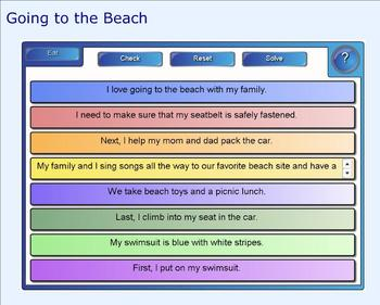 SMART Board: Sequencing Paragraph:Going to the Beach: Smartboard Writing