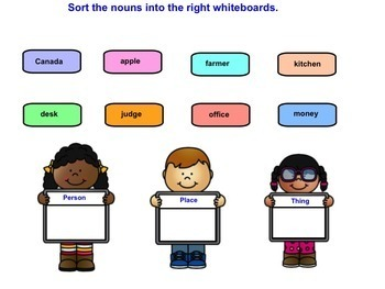 SMART Board Sorting of Nouns