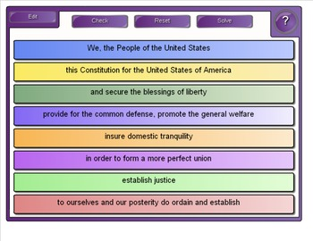 US Constitution Day: SMART Board activity for the Preamble