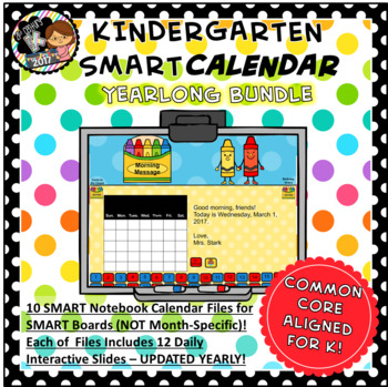 SMART Calendar Bundle - 10 Kindergarten Calendars (for SMART Boards)