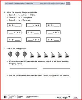 SMART Files for NYS Math Module Mid-Module Assessment Task for First Grade