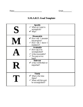 Smart Goal Template By Busy Beez Teachers Pay Teachers