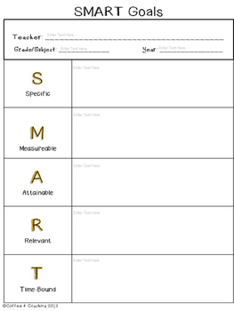 Superb SMART Goals Template   Editable