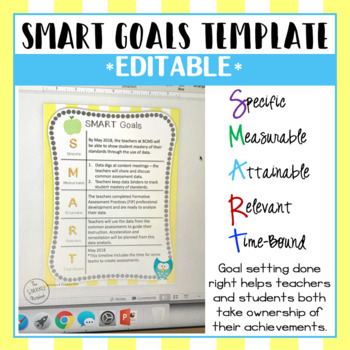smart goals template editable by the sparkly notebook tpt