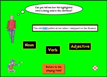SMART Notebook Grammar Baseball Game for your Whole Class - Smartboard